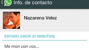 Mensaje que escribió Nazarena Vélez en su teléfono