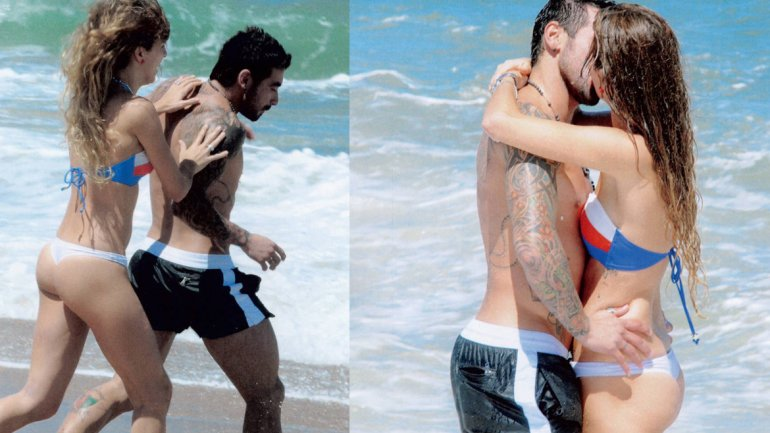 Ezequiel Lavezzi with desirable, Girlfriend Yanina Screpante