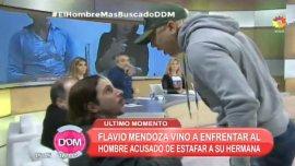 Flavio Mendoza fue hasta El Trece para enfrentar a Javier Bazterrica, el supuesto gigoló acusado de estafar a 100 mujeres