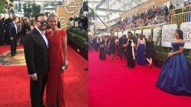 El anfitrión Ricky Gervais y su esposa, en la alfombra roja de los 73° Globos de Oro