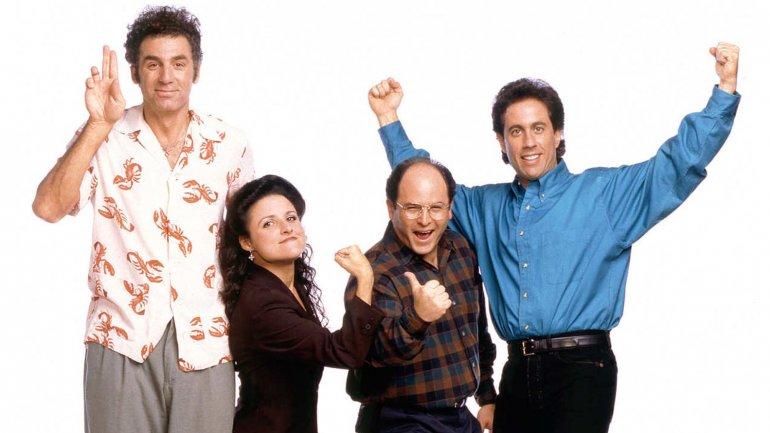Los protagonistas de Seinfeld:Kramer (Michael Richards), Elaine Benes (Julia Louis-Dreyfus),George Costanza (Jason Alexander)y JerrySeinfeld (él mismo)