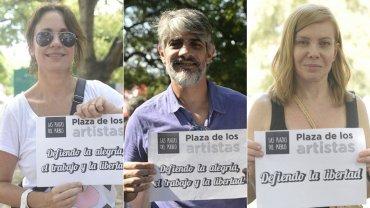 Nancy Dupláa, Pablo Echarri y Cecilia Roth en la Plaza de los Artistas
