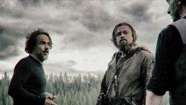 Alejandro González Iñárritu y Leonardo DiCaprio en El Renacido