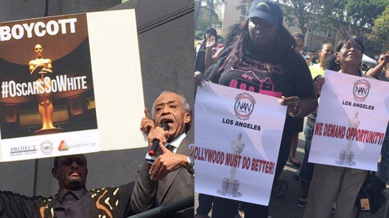 Con el hashtag #OscarsSoWhite, los manifestantes llevaron una protesta social por la falta de diversidad en Hollywood