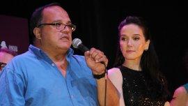 Natalia Oreiro junto a Toti Giménez, en la presentación de la película de Gilda.